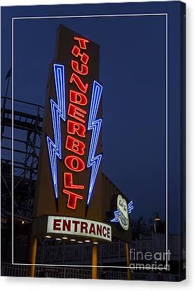 Thunderbolt Rollercoaster Neon Sign Canvas Print