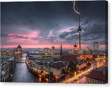 Thunderstorm At Alexanderplatz In Berlin Germany Canvas Print