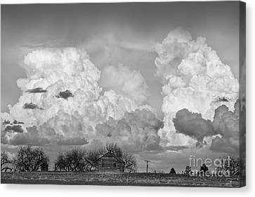 Thunderstorm Clouds And The Little House On The Prarie Bw Canvas Print by James BO  Insogna