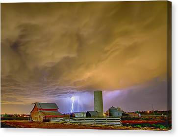 Thunderstorm Hunkering Down On The Farm Canvas Print by James BO  Insogna