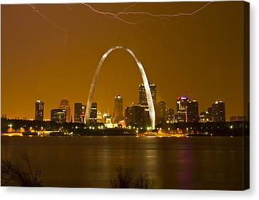 Thunderstorm Over The City Canvas Print by Garry McMichael