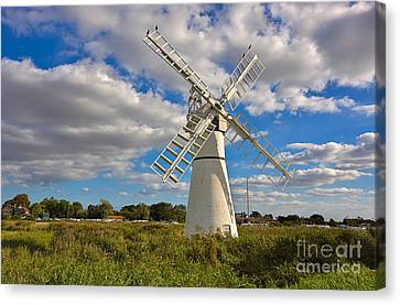 Thurne Dyke Windpump On The Norfolk Broads Canvas Print by Louise Heusinkveld