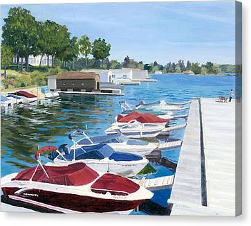 Canvas Print featuring the painting T.i. Park Marina by Lynne Reichhart