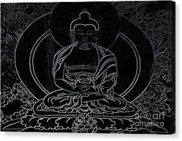 Tibetan Buddhism Canvas Print - Tibet Buddha Black by Kate McKenna