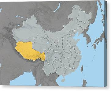 Tibet, China, Relief Map Canvas Print by Science Photo Library