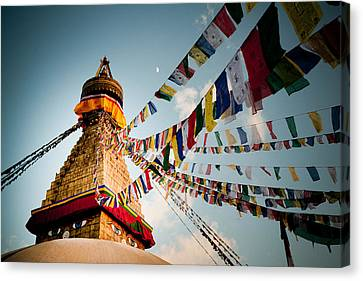 Tibetan Buddhism Canvas Print - Tibetan Buddhist Prayer Flags Stupa Boudnath by Raimond Klavins