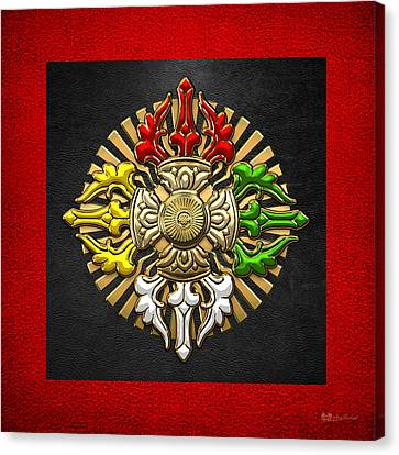Tibetan Double Dorje Mandala - Double Vajra On Black And Red Canvas Print by Serge Averbukh