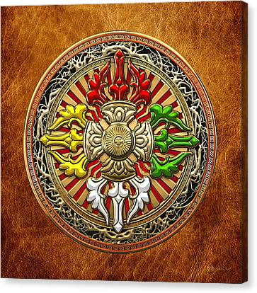 Tibetan Double Dorje Mandala - Double Vajra On Brown Leather Canvas Print by Serge Averbukh