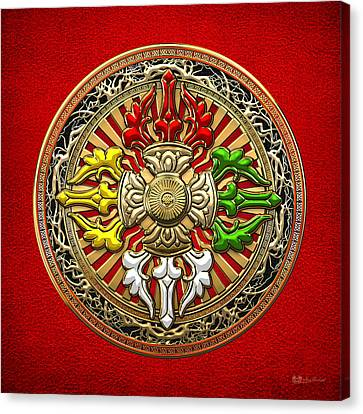 Tibetan Buddhism Canvas Print - Tibetan Double Dorje Mandala - Double Vajra On Red Leather by Serge Averbukh