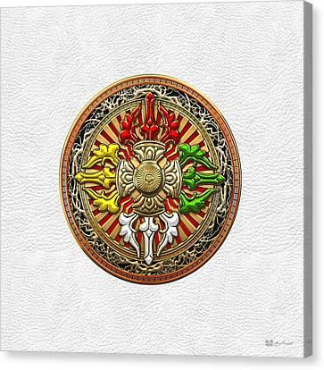 Tibetan Double Dorje Mandala - Double Vajra On White Leather Canvas Print by Serge Averbukh