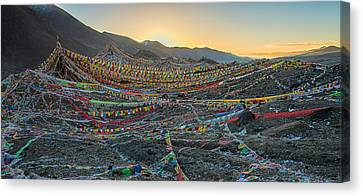 Tibetan Buddhism Canvas Print - Tibetan Flag Sunrise by James Wheeler