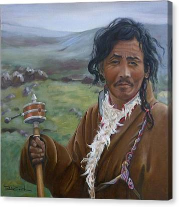 Tibetan Nomad With Prayer Wheel Canvas Print by Birgit Coath