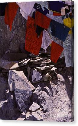 Tibetan Buddhism Canvas Print - Tibetan Prayer Flags Behind The Potala Palace by Anna Lisa Yoder