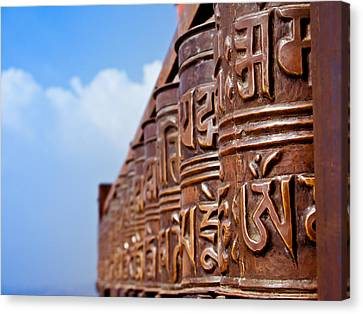 Tibetan Buddhism Canvas Print - Tibetan Prayer Wheels by Nila Newsom