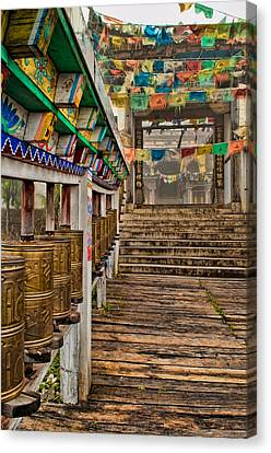 Tibetan Buddhism Canvas Print - Tibetan Temple Entrance by James Wheeler