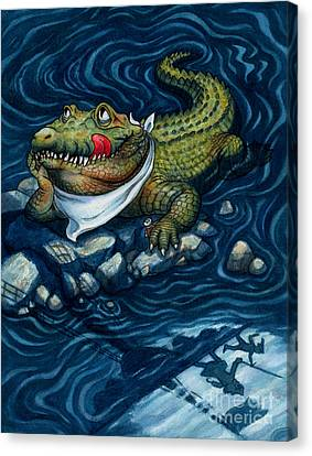 Pirate Ships Canvas Print - Tick-tock Crocodile by Isabella Kung