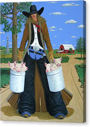Contemporary Cowgirl Canvas Print - Tickled Pink by Lance Headlee