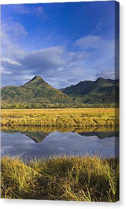 Tidal Slough And Mountain Scenic Along Canvas Print
