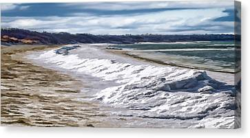 Canvas Print featuring the photograph Tide Line Ice Photo Art by Constantine Gregory