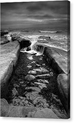 Tidepool Falls Black And White Canvas Print
