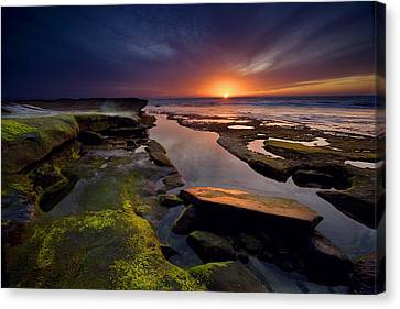 Red Skies Canvas Print - Tidepool Sunsets by Peter Tellone