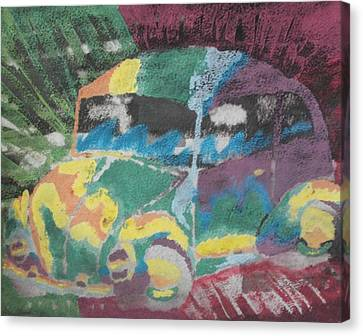 Canvas Print featuring the painting Tie-dye Beetle by Thomasina Durkay