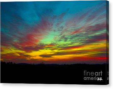 Canvas Print featuring the photograph Tie Dyed Sunrise by Geri Glavis