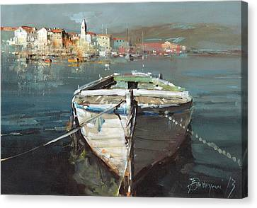 Tied Boat By The City Canvas Print by Branko Dimitrijevic