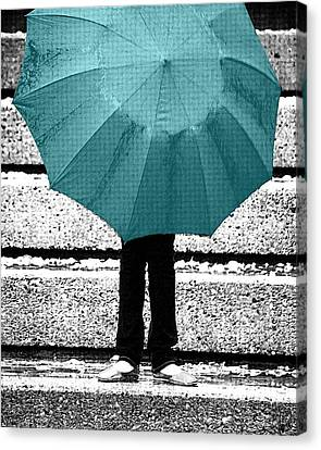 Tiffany Blue Umbrella Canvas Print by Lisa Knechtel