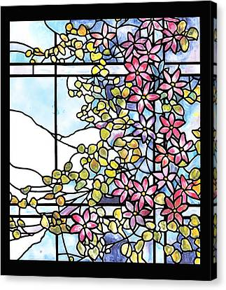 Stained Glass Tiffany Floral Skylight - Fenway Gate Canvas Print by Donna Walsh