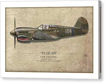 Tiger 104 P-40 Warhawk - Map Background Canvas Print by Craig Tinder