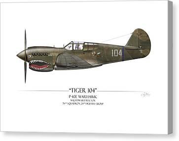 Tiger 104 P-40 Warhawk - White Background Canvas Print by Craig Tinder