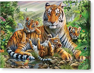 Tiger And Cubs Canvas Print by Adrian Chesterman