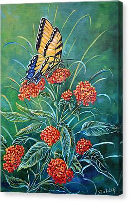 Tiger And Lantana Canvas Print by Gail Butler