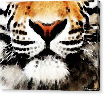 Tiger Art - Burning Bright Canvas Print by Sharon Cummings