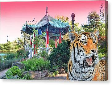 Tiger By A Chinese Pagoda Canvas Print by Jim Fitzpatrick