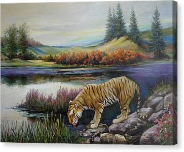 Tiger By The River Canvas Print by Svitozar Nenyuk