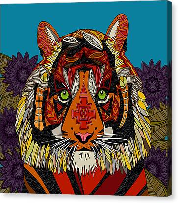 Purple Flowers Canvas Print - Tiger Chief Blue by Sharon Turner