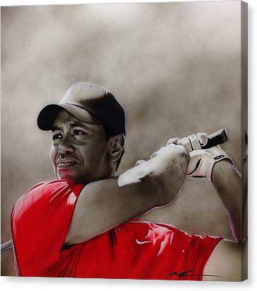 Tiger Woods - ' Tiger ' Canvas Print by Christian Chapman Art