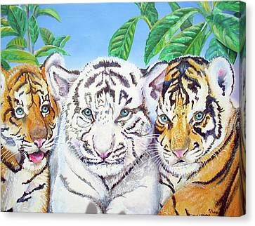 Canvas Print featuring the painting Tiger Cubs by Thomas J Herring