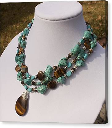 Tiger Eye And Turquoise Triple Strand Necklace 3640 Canvas Print