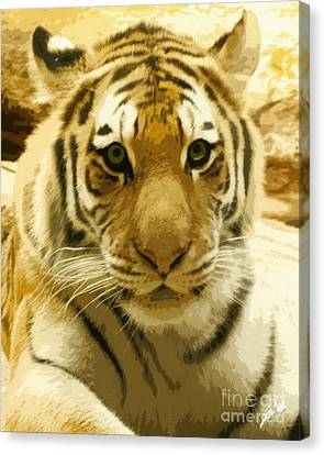 Canvas Print featuring the digital art Tiger Eyes by Erika Weber