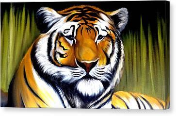 Tiger Face Canvas Print by Xafira Mendonsa