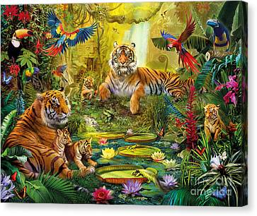 Tiger Family In The Jungle Canvas Print