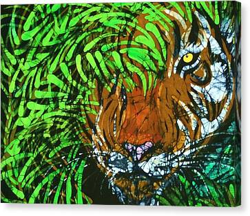 Tiger In Bamboo  Canvas Print by Kay Shaffer