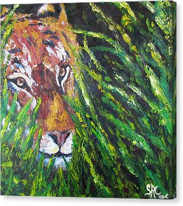 Tiger In The Grass  Canvas Print