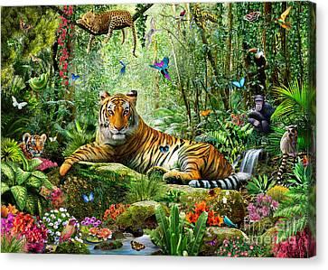 Tiger In The Jungle Canvas Print