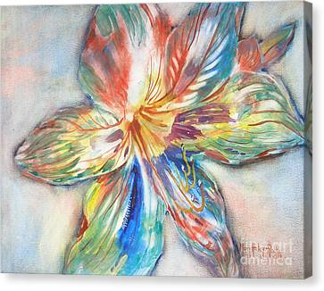 Canvas Print featuring the painting Tiger Lilly by Mary Haley-Rocks