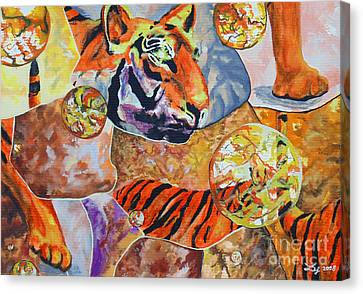 Canvas Print featuring the painting Tiger Mosaic by Daniel Janda