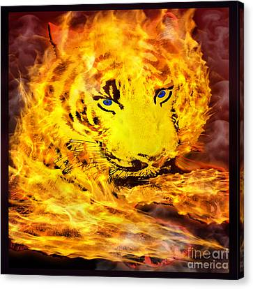 Tiger On Fire Canvas Print by Gary Keesler